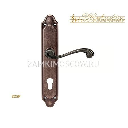 Дверная ручка на планке под цилиндр MELODIA mod. 225/158 CAGLIARI CYL античное серебро