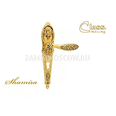 Дверная ручка на планке под цилиндр CLASS mod. 1060/1040 Sarrhire CYL золото 24К + коричневый