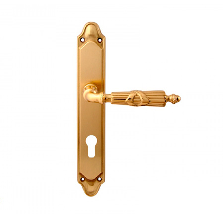 Дверная ручка на планке под цилиндр MELODIA mod. 282/158 PRAGA CYL полированная латунь