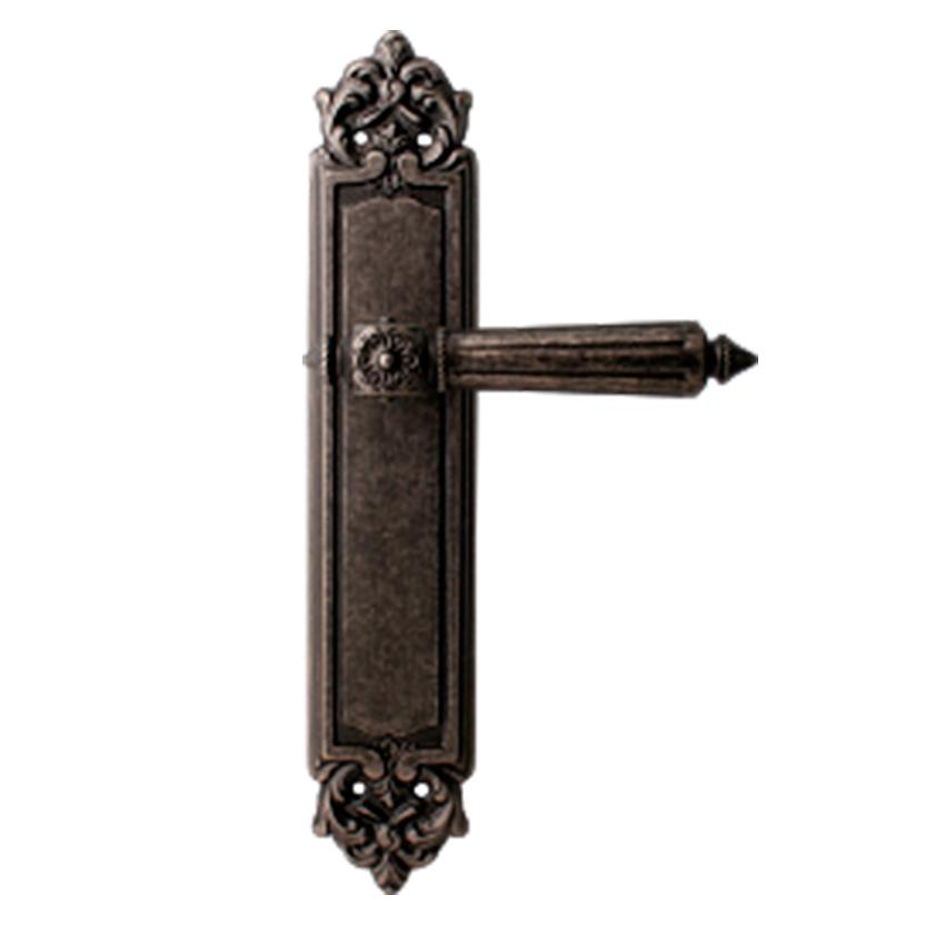 Дверная ручка на планке пустышка MELODIA mod. 246 NIKE PASS античное серебро
