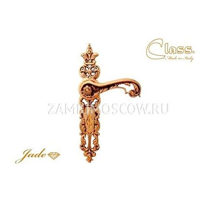 Дверная ручка на планке под фиксатор CLASS mod. 1110 Gade WC золото 24К + коричневый