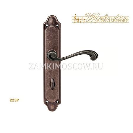 Дверная ручка на планке под фиксатор MELODIA mod. 225/158 CAGLIARI WC античное серебро