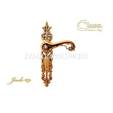 Дверная ручка на планке пустышка CLASS mod. 1110 Gade PASS золото 24К + коричневый + S