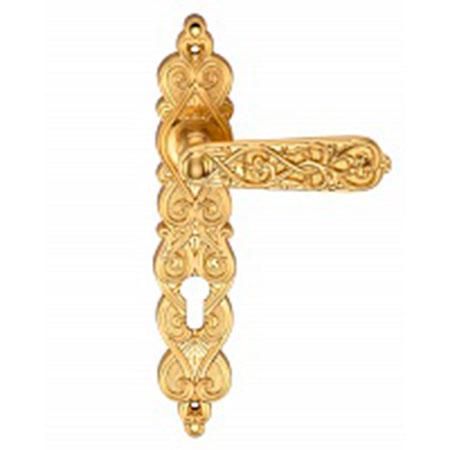 Дверная ручка на планке под цилиндр GENESIS ARABESCO S. GOLD CL