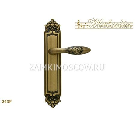 Дверная ручка на планке пустышка MELODIA mod.243 ROSA PASS матовая бронза
