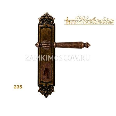 Дверная ручка на планке под фиксатор MELODIA mod. 235 MIRELLA WC античная бронза