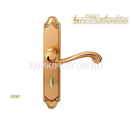 Дверная ручка на планке под фиксатор MELODIA mod. 225/158 CAGLIARI WC полированная латунь
