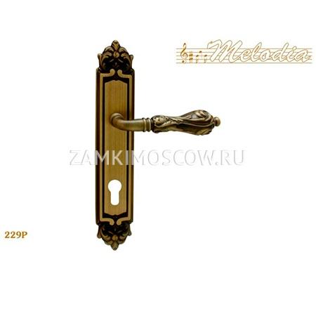 Дверная ручка на планке под цилиндр MELODIA mod.229 LIBRA CYL матовая бронза