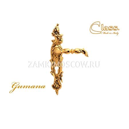 Дверная ручка на планке под цилиндр CLASS mod. 1100/1130 Gumana CYL золото 24К + коричневый