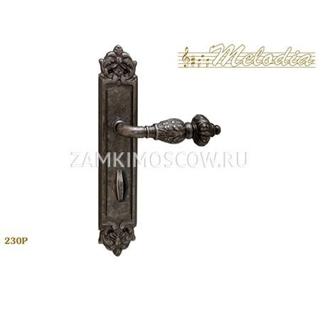 Дверная ручка на планке под фиксатор MELODIA mod.230 GEMINI WC античное серебро
