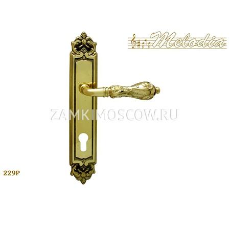 Дверная ручка на планке под цилиндр MELODIA mod.229 LIBRA CYL полированная латунь