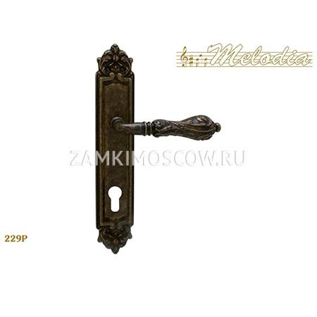 Дверная ручка на планке под цилиндр MELODIA mod.229 LIBRA CYL античная бронза