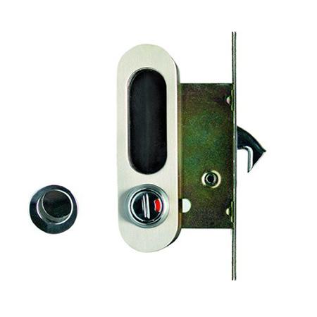 Замок для раздвижных дверей и шкафов-купе ARCHIE K01/02-V2HH (белый никель)