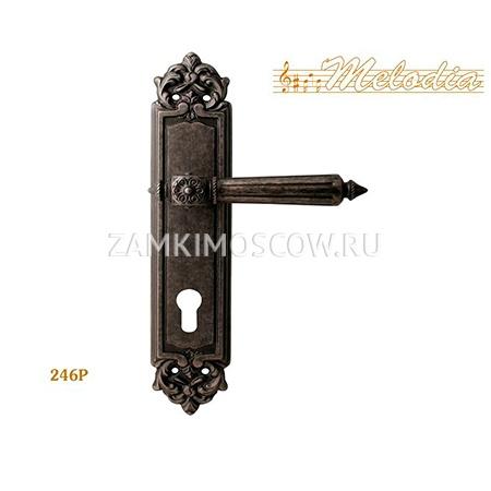 Дверная ручка на планке под цилиндр MELODIA mod. 246 NIKE CYL античное серебро
