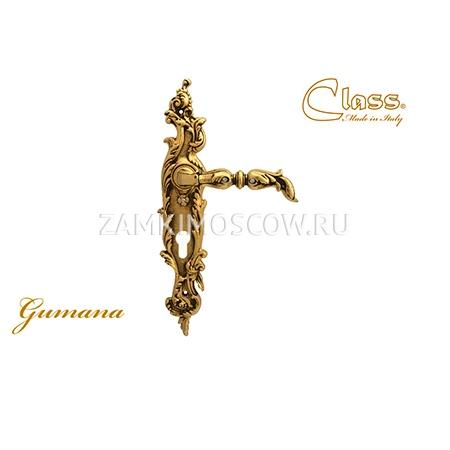 Дверная ручка на планке под цилиндр CLASS mod. 1100/1130 Gumana CYL золото 24К + коричневый + S