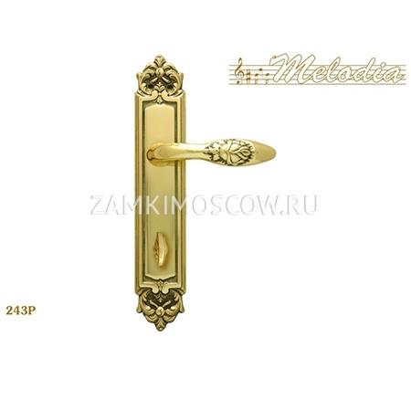 Дверная ручка на планке под фиксатор MELODIA mod.243 ROSA WC полированная латунь