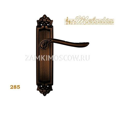 Дверная ручка на планке пустышка MELODIA mod. 285 DAISY PASS затемненная бронза