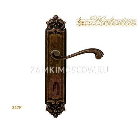 Дверная ручка на планке под фиксатор MELODIA mod. 247 CAGLIARI WC античная бронза