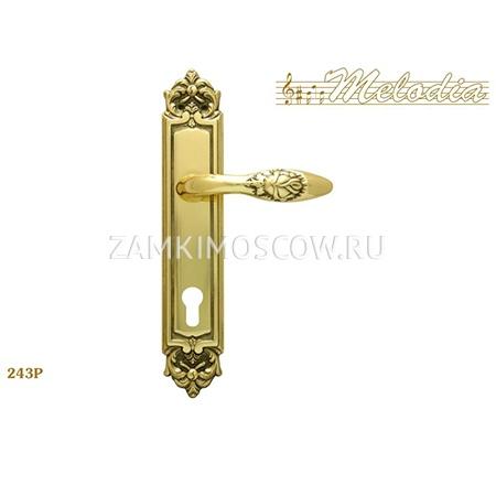 Дверная ручка на планке под цилиндр MELODIA mod.243 ROSA CYL полированная латунь