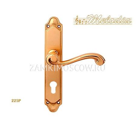 Дверная ручка на планке под цилиндр MELODIA mod. 225/158 CAGLIARI CYL полированная латунь