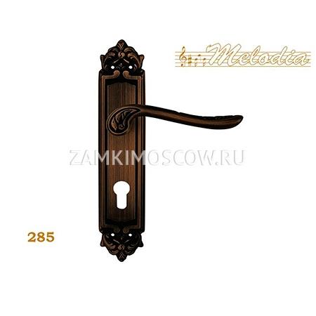 Дверная ручка на планке под цилиндр MELODIA mod. 285 DAISY CYL затемненная бронза
