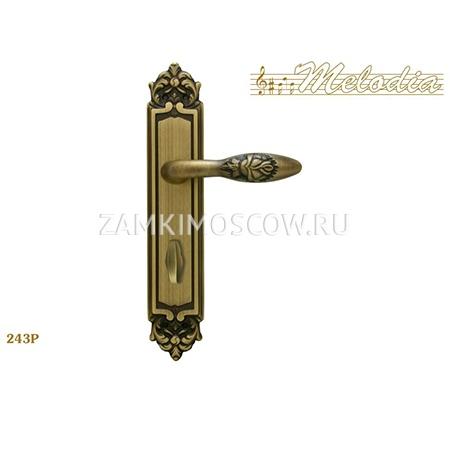 Дверная ручка на планке под фиксатор MELODIA mod.243 ROSA WC матовая бронза