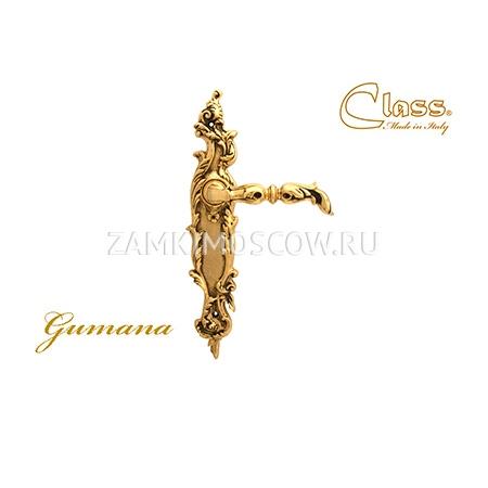 Дверная ручка на планке пустышка CLASS mod. 1100/1130 Gumana PASS золото 24К + коричневый