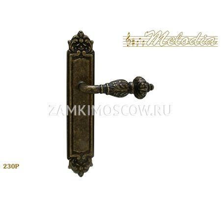 Дверная ручка на планке пустышка MELODIA mod.230 GEMINI PASS античная бронза