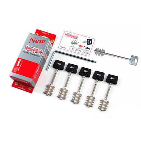 Комплект ключей для перекодировки Cisa 06520.61.1 New Cambio (64 мм, 5 ключей)