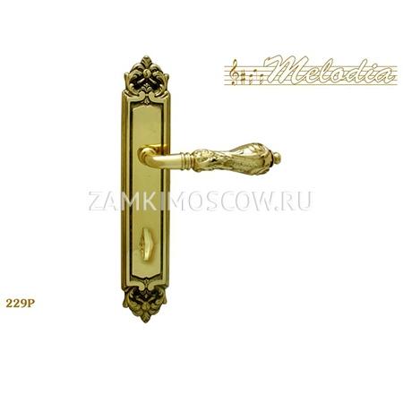 Дверная ручка на планке под фиксатор MELODIA mod.229 LIBRA WC полированная латунь