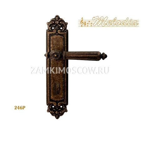 Дверная ручка на планке под фиксатор MELODIA mod. 246 NIKE WC античная бронза