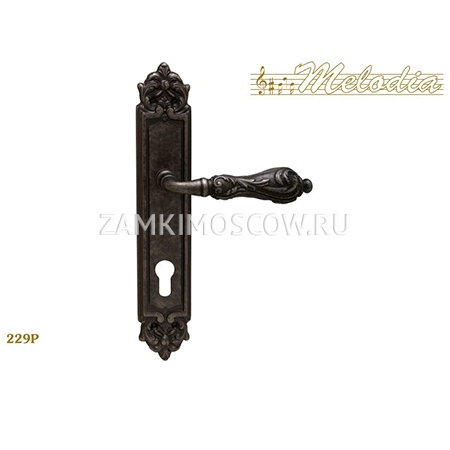 Дверная ручка на планке под цилиндр MELODIA mod.229 LIBRA CYL античное серебро