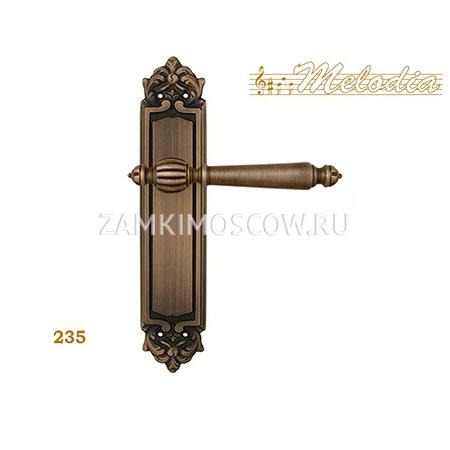 Дверная ручка на планке пустышка MELODIA mod. 235 MIRELLA PASS матовая бронза