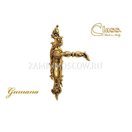 Дверная ручка на планке под фиксатор CLASS mod. 1100/1130 Gumana WC золото 24К + коричневый + S