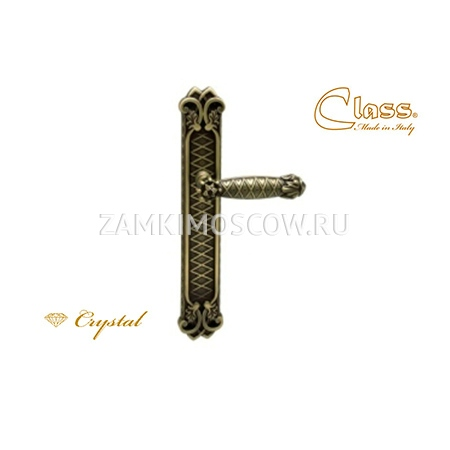 Дверная ручка на планке пустышка CLASS mod. 1090 Crystal PASS матовая бронза