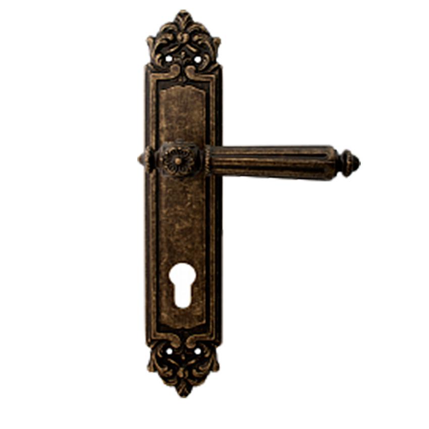 Дверная ручка на планке под цилиндр MELODIA mod. 246 NIKE CYL античная бронза