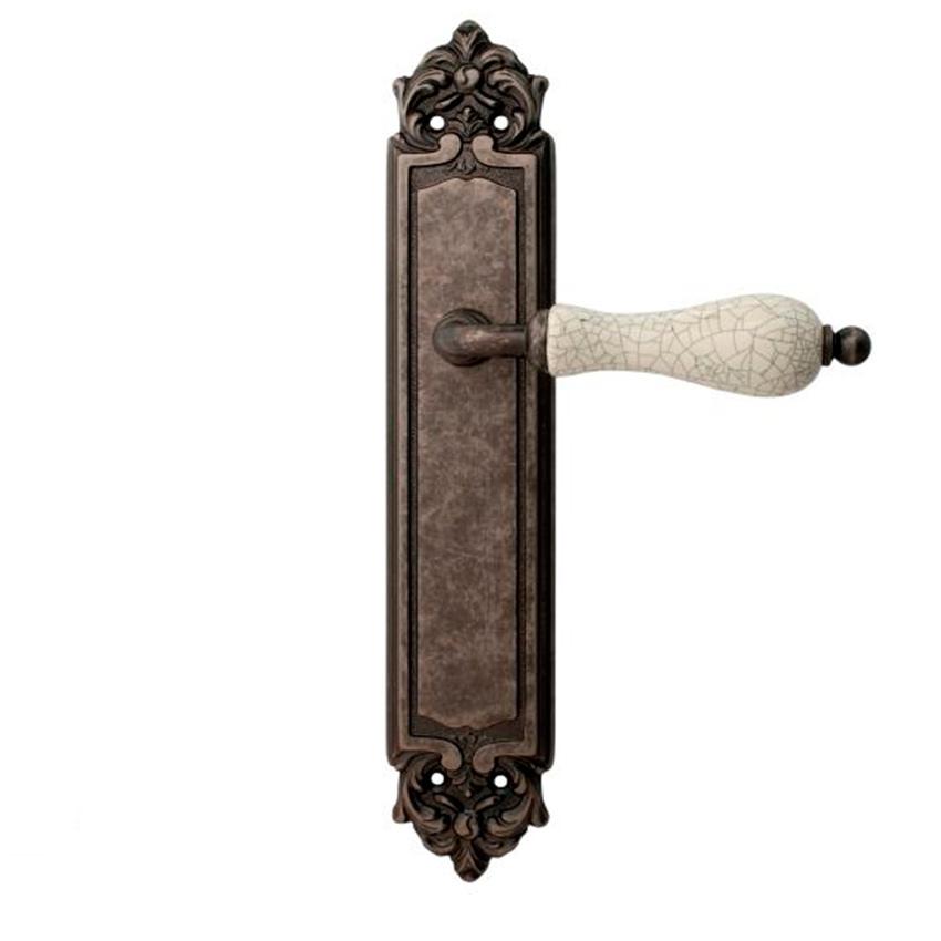 Дверная ручка на планке пустышка MELODIA mod.179 CERAMIC PASS античное серебро + керамика