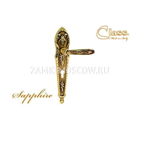 Дверная ручка на планке под цилиндр CLASS mod. 1040 Sarrhire CYL старинная латунь + коричневый