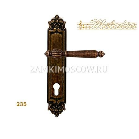 Дверная ручка на планке под цилиндр MELODIA mod. 235 MIRELLA CYL античная бронза
